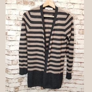 LOFT Ann Taylor Small brown striped open cardigan